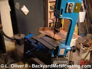 Cutting the plate with a bandsaw
